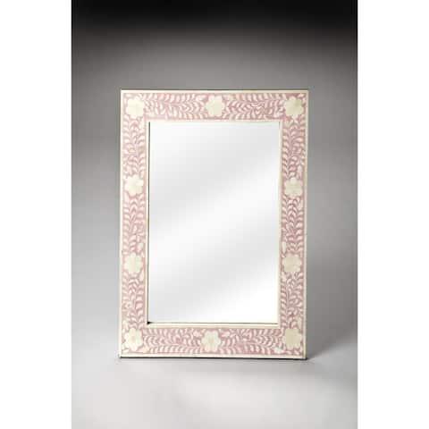 Handmade Butler Vivienne Pink Bone Inlay Wall Mirror (India) - Off-White