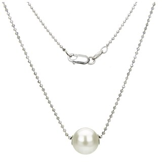DaVonna Sterling Silver Dia-Cut Bead Chain with10-11mm White Round Freshwater Pearl Swivel Pendant Necklace 18""