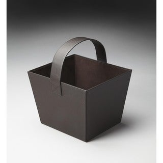 Butler Lido Brown Leather Magazine Basket