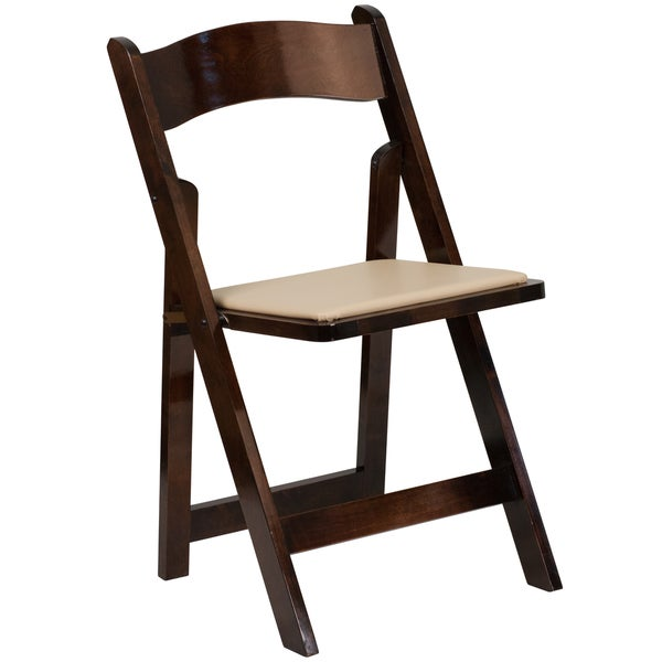 Hercules Series Wooden Folding Chair with Vinyl Padded Seat Free Shipping O