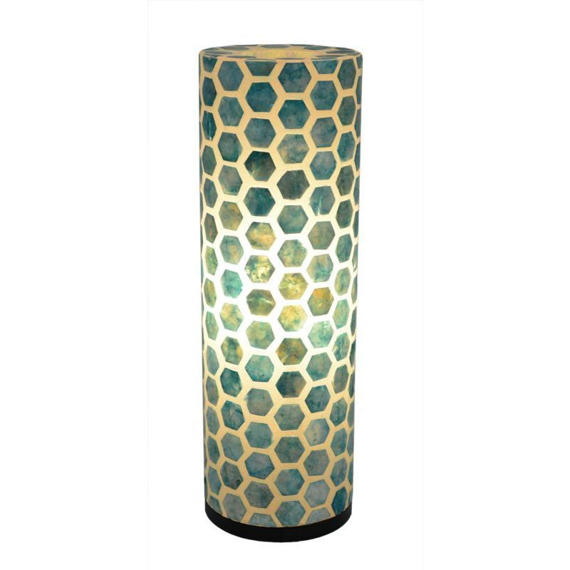 Crafted Home's Bernicia Table Lamp (Bernicia), Blue (Glass)