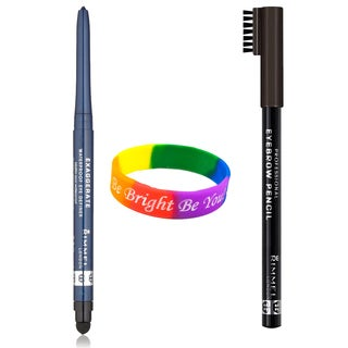 Rimmel Professional Black Brown Eyebrow Pencil and Deep Ocean Exaggerate Eye Definer with Dimple Bracelet