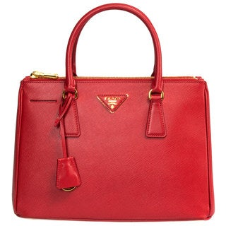 Prada Small Red Saffiano Leather Tote Bag