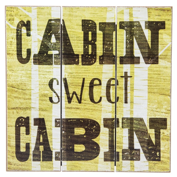 Shop \'Cabin Sweet Cabin\' Wood Slatwall Wall Decor - Free Shipping On ...