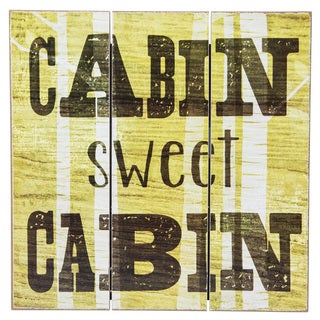 'Cabin Sweet Cabin' Wood Slatwall Wall Decor