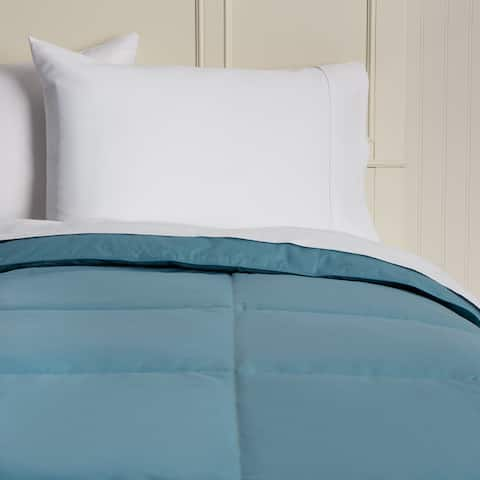 Hotel Madison Cotton Lightweight 15-inch Box Stitch Colored Down Full/Queen Size Comforter in Sea Blue (As Is Item)