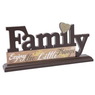 Boston Warehouse Black Brown Wood Family Decorative Letters Tabletop Plaque