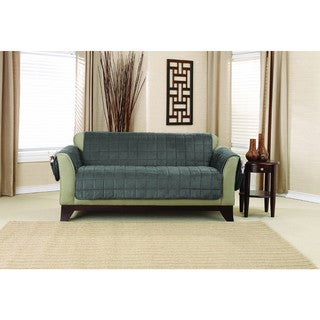 Sure Fit Deep Pile Velvet Loveseat Furniture Protector with Paw Print Reverse
