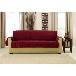 Sure Fit Deep Pile Velvet Sofa Furniture Protector with Paw Print Reverse