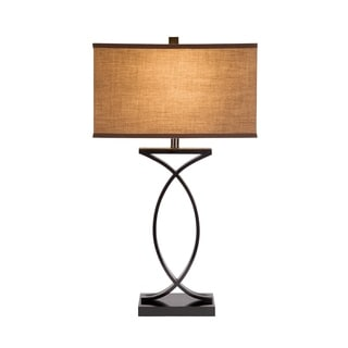 Catalina Aria 19350-001 3-Way 28-Inch Black with Gold Highlights Metal Table Lamp with Linen Shade