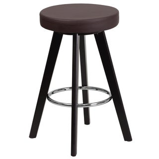 Trenton Series 24-inch Contemporary Vinyl Counter Height Stool with Cappuccino Wood Frame