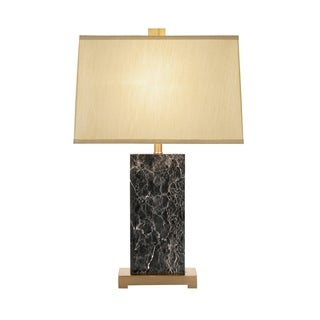 Catalina Mia 19346-001 3-Way 27-1/2-Inch Square Marble Table Lamp with Rectangular Linen Shade, Bulb Included