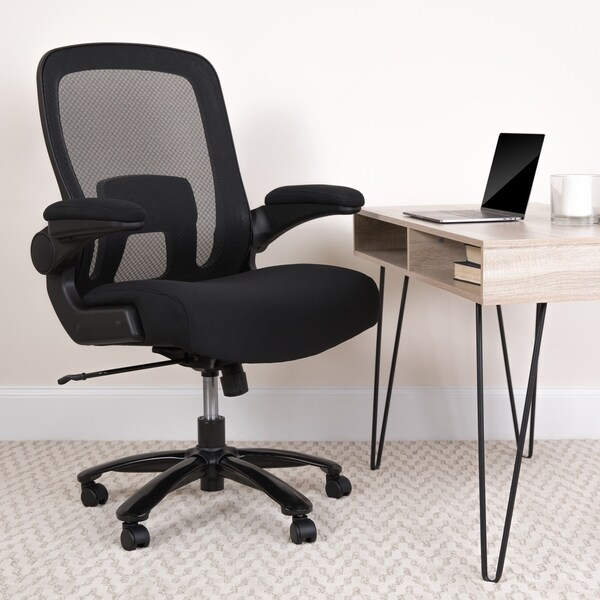Big & Tall 500 lb. Rated Black Mesh/Fabric Ergonomic Chair w/ Adjustable Lumbar