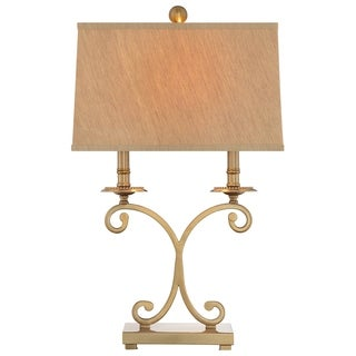 Catalina Savannah 19154-001 3-Way 26-Inch Trad Metal Table Lamp w Antique Brass Fin, Champagne Linen Shade, Bulb Included