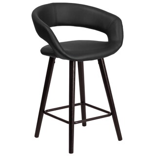 Brynn Series 24-inch Contemporary Vinyl Counter Height Stool with Cappuccino Wood Frame
