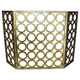 Three Panel Gold Circle Design Fire Screen
