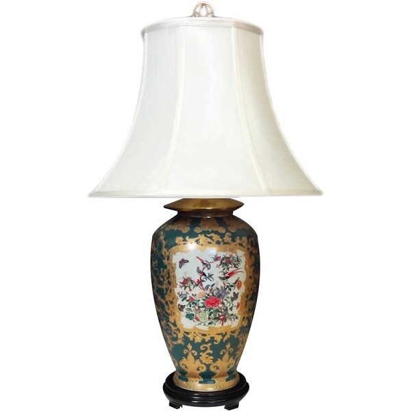Green Medallion Round Porcelain Lamp