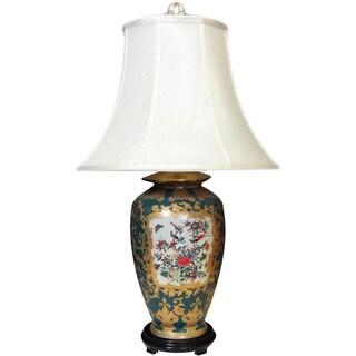 Green Medallion Round Porcelain Lamp