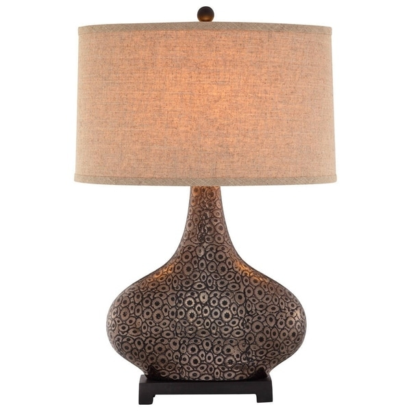 Catalina Turner 19089-001 3-Way 28-Inch Embossed Cer Table Lamp w Bronze/ Gold Finish, Textured Linen Drum Shade, Bulb Included