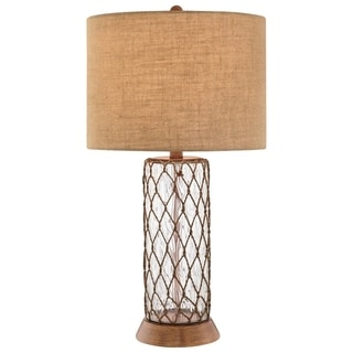 Catalina Lacy 19086-001 3-Way 32-Inch Clear Water Glass Table Lamp, Bronze Finish, Textured Burlap Drum Shade, Bulb Included