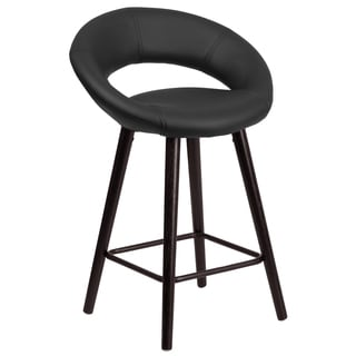 Kelsey Series 24-inch Contemporary Vinyl Counter Height Stool with Cappuccino Wood Frame