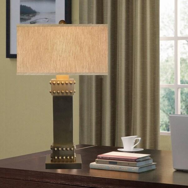 Catalina Drew 19079-001 3-Way 31-Inch Metal Table Lamp w Nail Head, Rectangular Linen Fabric Hardback Shade, Bulb Included