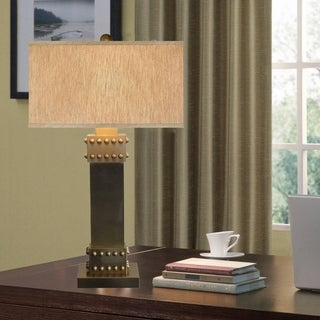 Catalina Drew 19079-001 3-Way 31-Inch Metal Table Lamp w Nail Head, Rectangular Linen Fabric Hardback Shade, Bulb Included