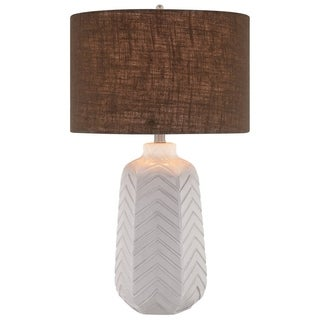 Catalina Liberty 19063-001 3-Way 27-Inch Ceramic Chevron Table Lamp w White Glaze, Grey Linen Drum Shade, Bulb Included