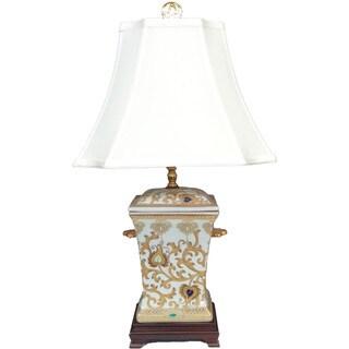 Gold Scrolls Square Incense Holder Porcelian Lamp