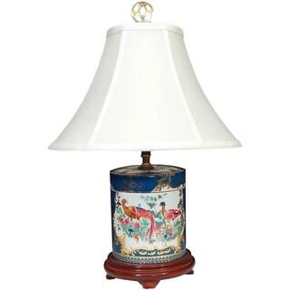 Milticolor Porcelain/Silk Festive Phoenix Lamp