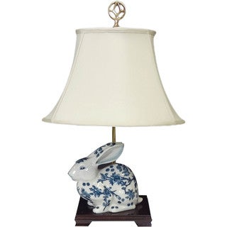Lone Bunny White and Blue Porcelain Figurine Lamp with Silk Shade