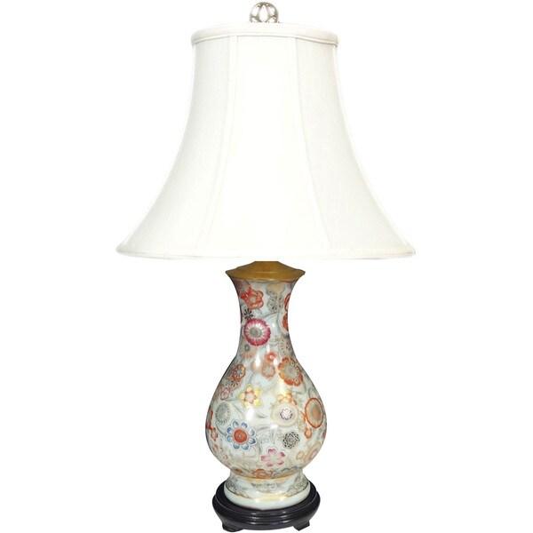 Nippon Blooms Porcelain Vase Lamp