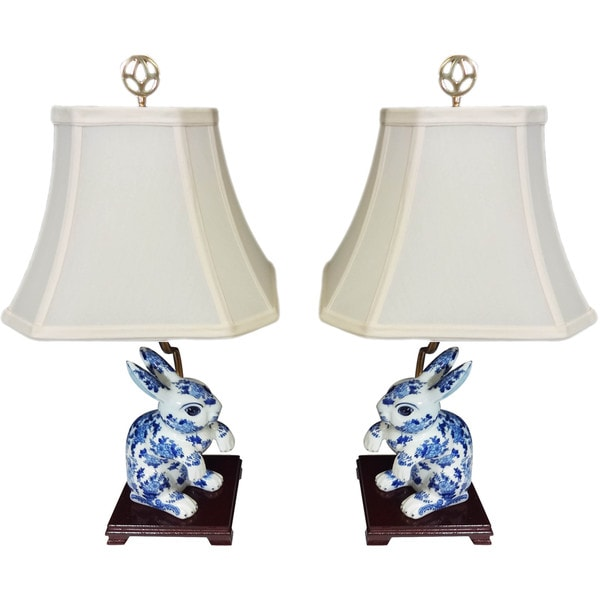 Bunny Pair Porcelain Figurine Lamps (Set of 2)