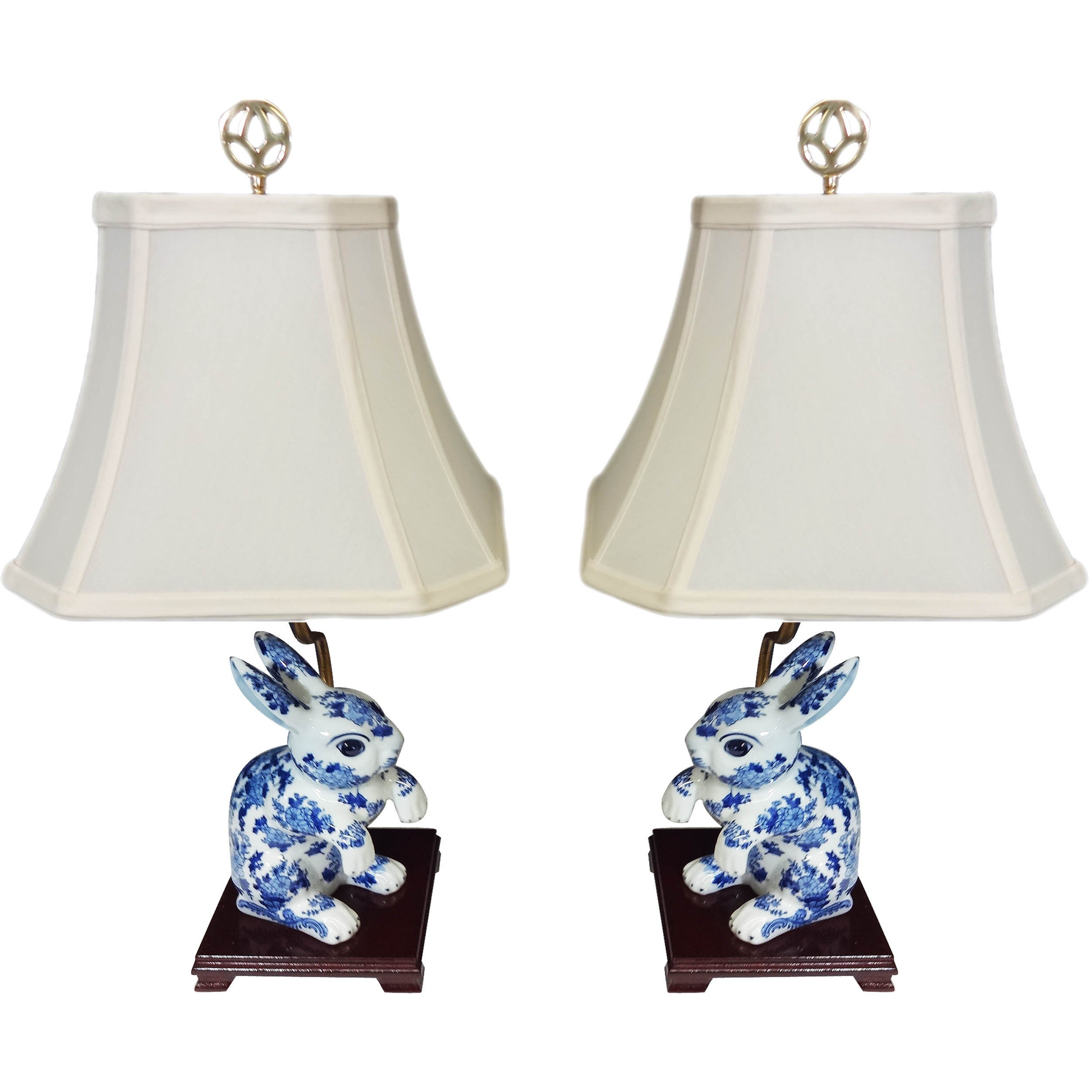 Bunny Pair Porcelain Figurine Lamps (Set of 2) (Pair Bunn...
