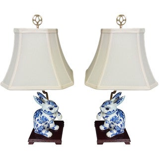 Bunny Pair Porcelain Figurine Lamps (Set of 2)