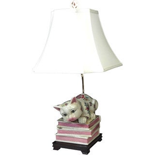 Green, Pink, White Porcelain, Silk Bookend Kitty Figurine Table Lamp