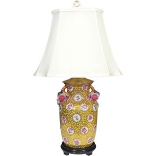 Imperial Gold, Pink, Yellow Porcelain, Silk I-light Table Lamp