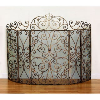 Five Panel Goldtone Iron Fire Screen