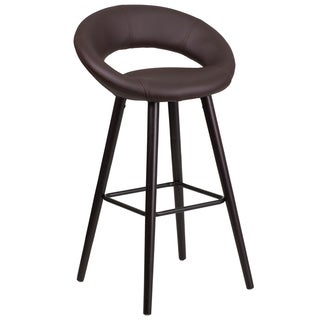 Kelsey Series 29-inch Contemporary Vinyl Barstool with Cappuccino Wood Frame