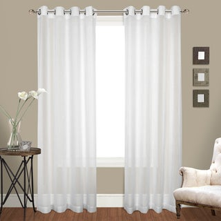 Luxury Collection Venetian Grommet White 120-inch L-top Panel Pairs