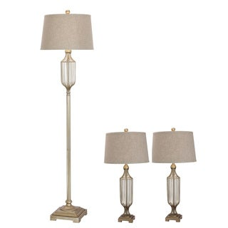 Fangio Lightings #3858CG Metal Wire 3-piece Lamp Set in Champagne Gold