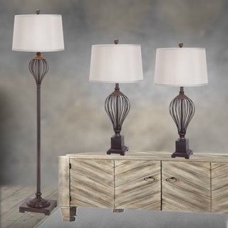 Fangio Lightings #3857ORB Metal Wire 3-piece Lamp Set in Oil Rubbed Bronze