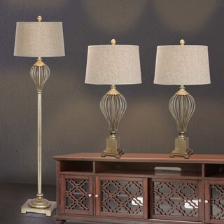Fangio Lightings #3857CG Metal Wire 3-piece Lamp Set in Champagne Bronze