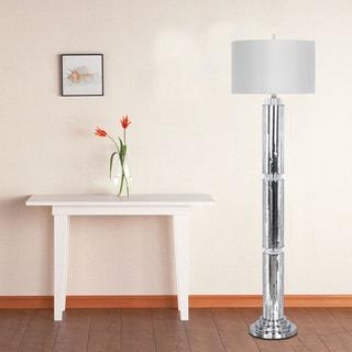63-inch Silver Mosaic & Metal Floor Lamp