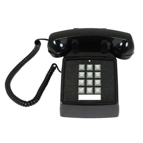 Cortelco 2500-MD Black, Red Corded Desk Phone with Volume Control