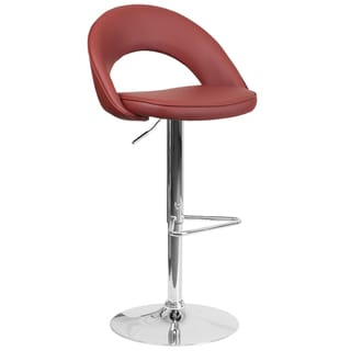 Contemporary Vinyl Rounded Back Adjustable Height Barstool with Chrome Base (Red)