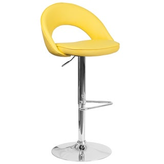 Contemporary Vinyl Rounded Back Adjustable Height Barstool with Chrome Base (Yellow)