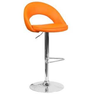 Contemporary Vinyl Rounded Back Adjustable Height Barstool with Chrome Base (Orange)