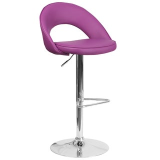 Contemporary Vinyl Rounded Back Adjustable Height Barstool with Chrome Base