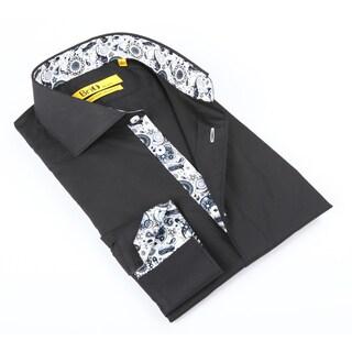Brio Mens Solid w Paisley Trim Dress Shirt